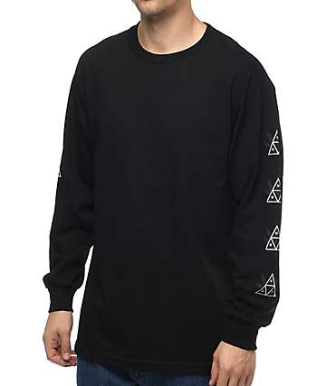 HUF 420 Triple Triangle Long Sleeve Black T-Shirt