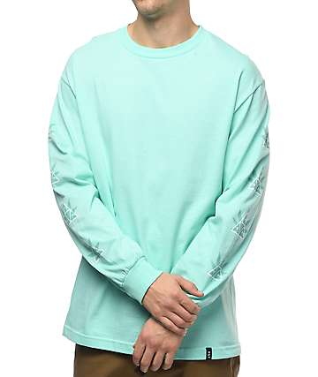 HUF 420 Triple Triangle Long Sleeve Mint T-Shirt