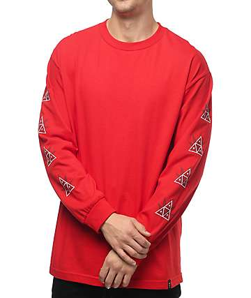 HUF 420 Triple Triangle Red Long Sleeve T-Shirt