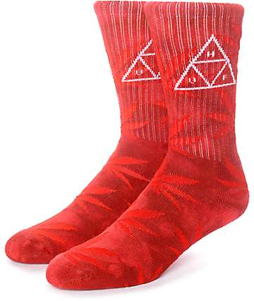 HUF 420 Triple Triangle Red Smoke Crew Socks
