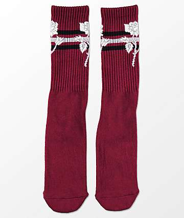 HUF Ambush Rose Maroon Crew Socks