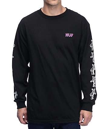 HUF Bear UV Black Long Sleeve T-Shirt