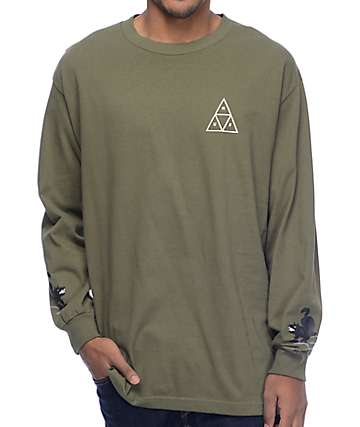 HUF Black Wolf Military Green Long Sleeve T-Shirt