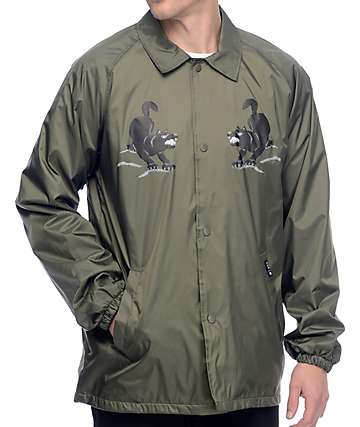 HUF Blackwolf Olive Coaches Jacket