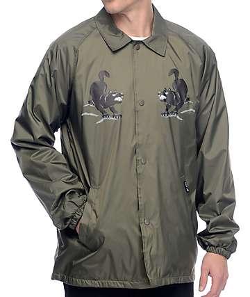HUF Blackwolf chaqueta entrenador en color verde olivo