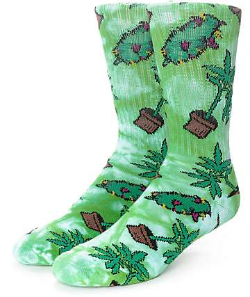 HUF Bud Crew Green Tie Dye Crew Socks