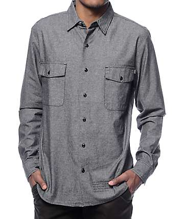 HUF Chambray Button Up Long Sleeve Shirt