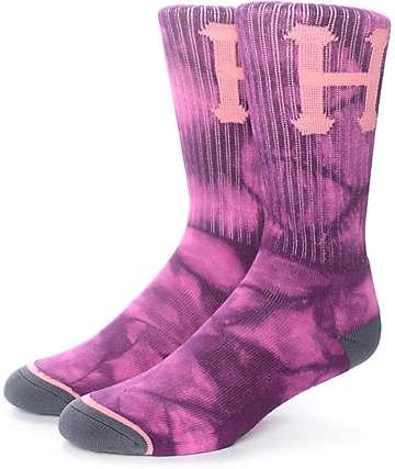 HUF Classic H Purple Tie Dye Crew Socks