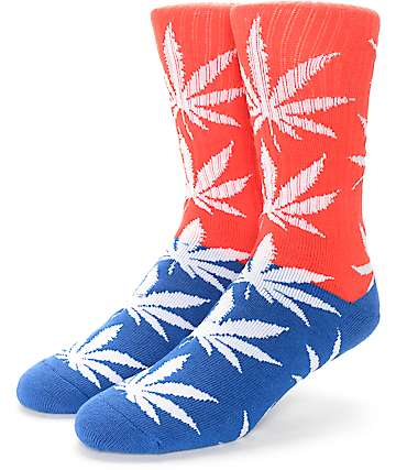 HUF Colorblock Plantlife Red & Blue Crew Socks