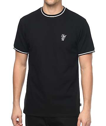 HUF Country Club Pique Crew Black T-Shirt