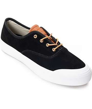 HUF Cromer Black Baseball Suede Skate Shoes