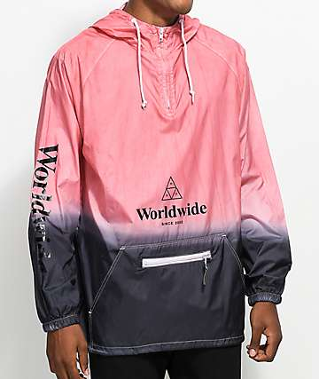 HUF Dip Dye Red & Black Anorak Jacket