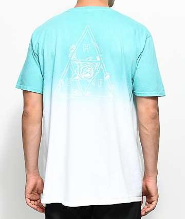 HUF Dip Dyed camiseta blanca  y   aguamarina con efecto tie dye