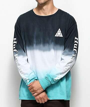 HUF Dip Dyed camiseta blanca y aguamarina con efecto tie dye de manga larga
