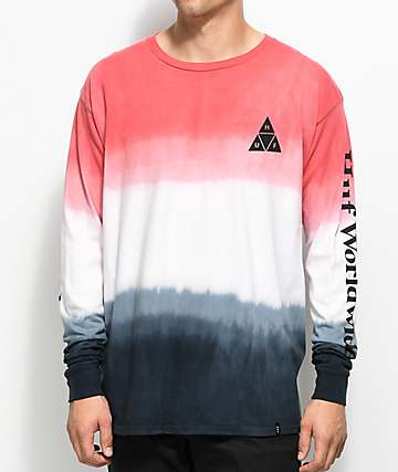 HUF Dip Dyed camiseta roja  y   negro con efecto tie dye de manga larga