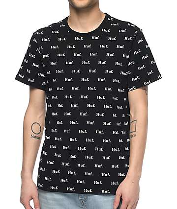 HUF Domestic All Over Print Black T-Shirt