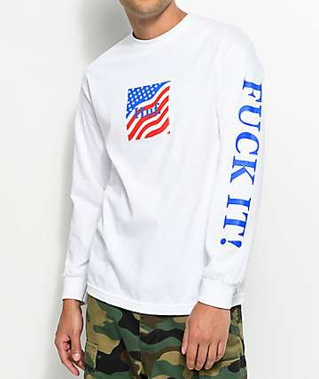 HUF Domestic Fuck It Long Sleeve White T-Shirt