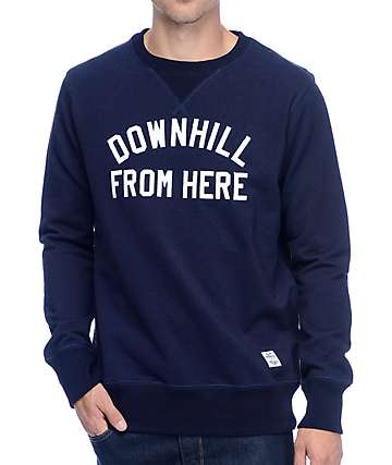 HUF Downhill From Here Indigo Crew Neck Sweatshirt