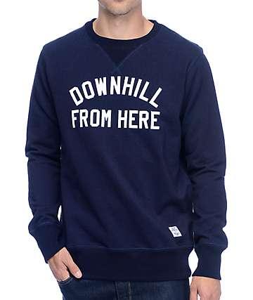 HUF Downhill From Here sudadera con cuello redondo en azul