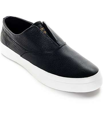 HUF Dylan Black Leather Slip-On