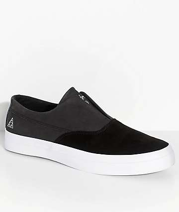 HUF Dylan Slip-On Black, White, Suede & Leather Skate Shoes