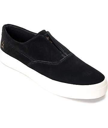 HUF Dylan Slip On Black & White Suede Skate Shoes