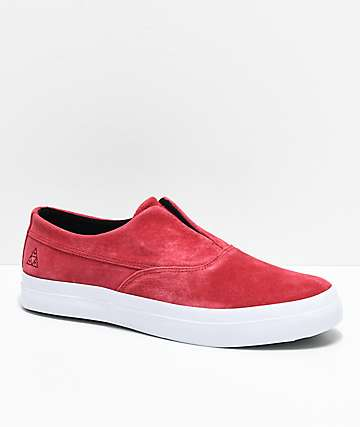 HUF Dylan Slip-On Deep Red Suede Skate Shoes