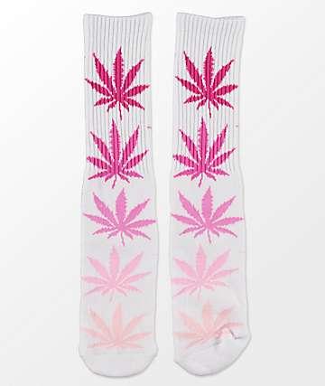 HUF Fader Plantlife Pink Crew Socks