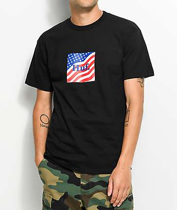 HUF Flag Box Logo camiseta negra