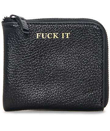 HUF Fuck It Black Leather Half Zip Wallet