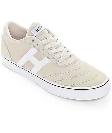 HUF Galaxy Bone White Suede & Canvas Skate Shoes