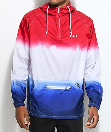 HUF Gradient chaqueta anorak en rojo, blanco y azul