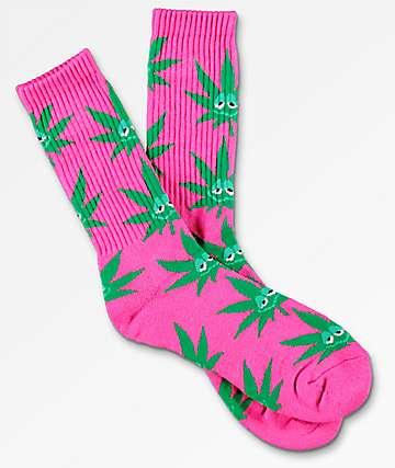 HUF Green Buddy Pink Crew Socks