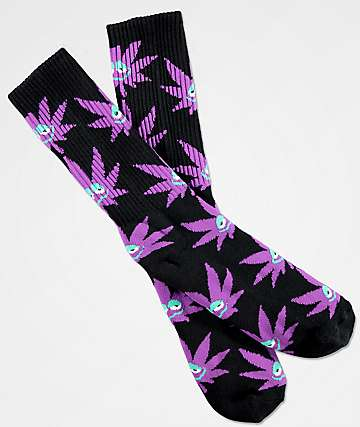 HUF Green Buddy Purple Crew Socks