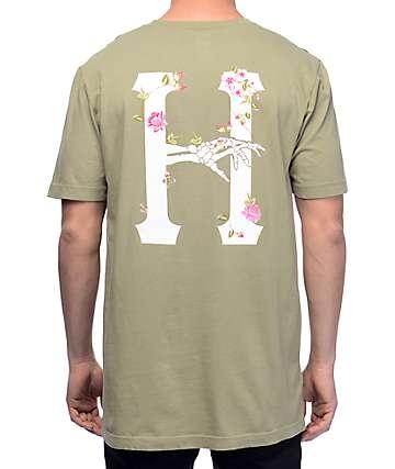 HUF La Vie En Rose Classic H camiseta en color olivo