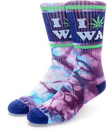 HUF Legalize Washington Blue Tie Dye Crew Socks