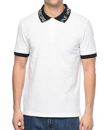HUF Letras camiseta polo en blanco
