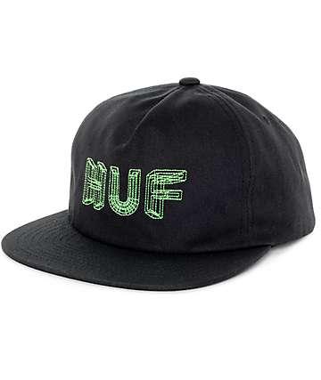 HUF Lines Black Snapback Hat