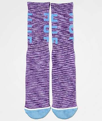 HUF Melange OG Logo Purple Crew Socks