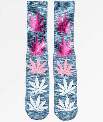 HUF Melange Plantlife calcetines en azul y rosa
