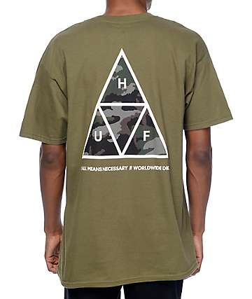 HUF Muted Military Triple Triangle Dark Green T-Shirt