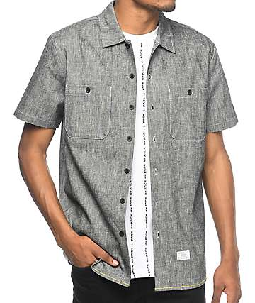HUF Noah Black Washed Woven Button Up Shirt