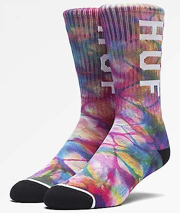 HUF OG Logo Rainbow Tie Dye Crew Socks