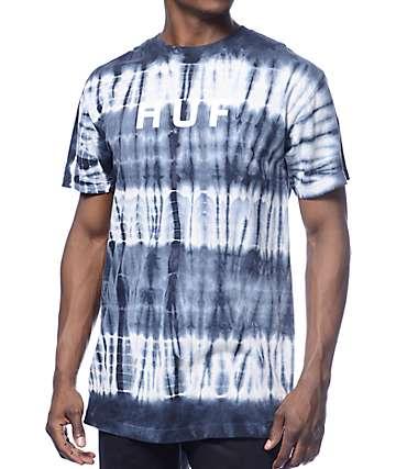 HUF Original Logo Tie Dye Navy T-Shirt