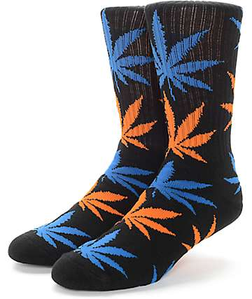 HUF Plantlife Black, Blue & Orange Crew Socks