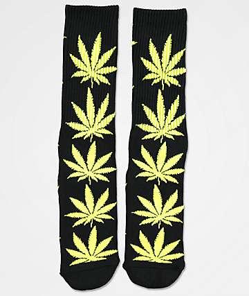 HUF Plantlife Black & Neon Green Crew Socks