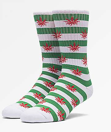 HUF Plantlife Candy Cane Green & White Crew Socks