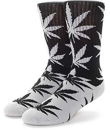 HUF Plantlife Colorblock Black & Grey Crew Socks