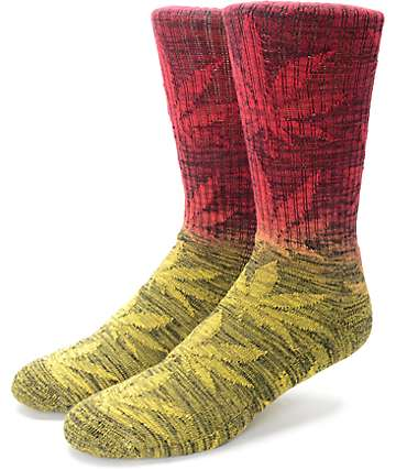 HUF Plantlife Dip Dyed Red & Green Crew Socks