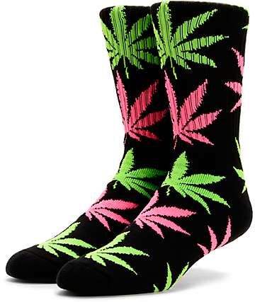 HUF Plantlife Glow In The Dark Crew Black Socks